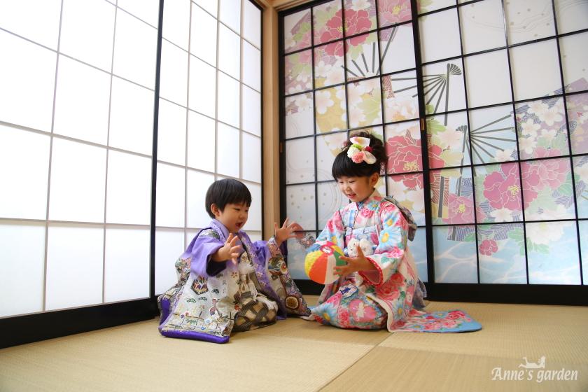 アンズガーデン松戸の七五三7歳・5歳のフォトプランの撮影です。