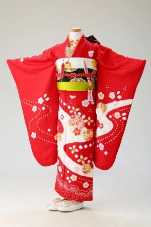 本紋綸子 鈴と桜 赤(幕張7歳夢ごこち)