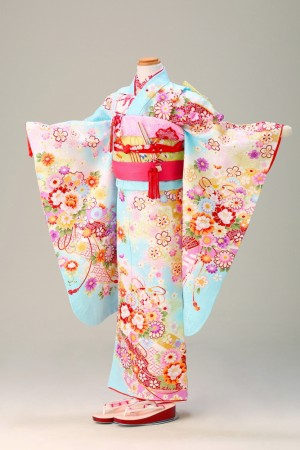 菊 桜 菱形綸子 花づくし 水色(幕張7歳夢ごこち)