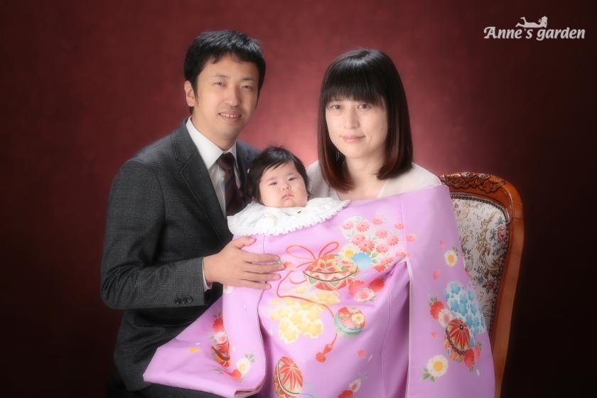 東京近郊にあるアンズガーデン新東京店で、お宮参りの撮影をされたお客様